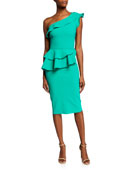 Chiara Boni La Petite Robe Ruffled One-Shoulder Asymmetric