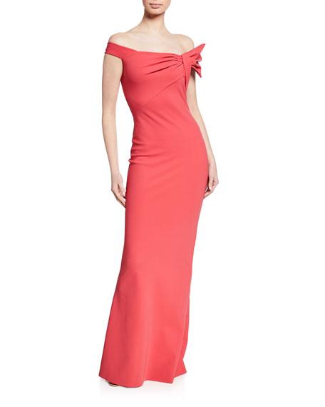 Chiara Boni La Petite Robe Off-the-Shoulder Short-Sleeve Column Gown w/ Asymmetric Knot Detail