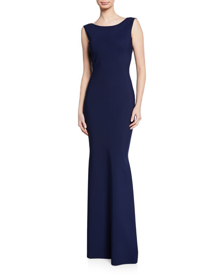 Chiara Boni La Petite Robe Boat-Neck Sleeveless Column Gown w/ Bow-Back Detail