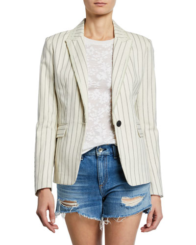 Millie Pinstripe Single-Button Blazer