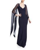 Chiara Boni La Petite Robe V-Neck Cape-Illusion Sheer-Sleeve