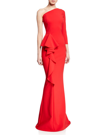Chiara Boni La Petite Robe One-Shoulder Asymmetric Trumpet Gown w/ Side-Ruffle Detail