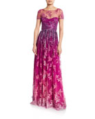 Marchesa Notte Ombre Metallic Embroidered Short-Sleeve Illusion