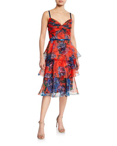 Floral-Print Sleeveless Tiered Organza Dress with Draped Bodice