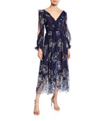 Marchesa Notte Floral Embroidered Long-Sleeve Tulle & Chiffon