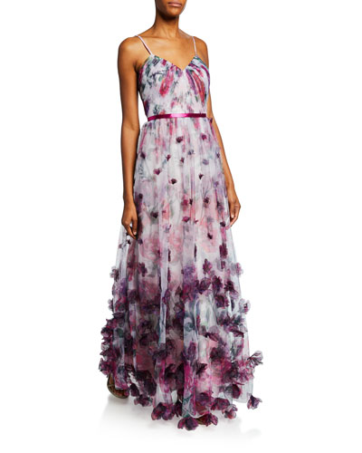 cb4911906860cd Quick Look. Marchesa Notte · Floral-Print Sweetheart Spaghetti-Strap Tulle  Gown ...