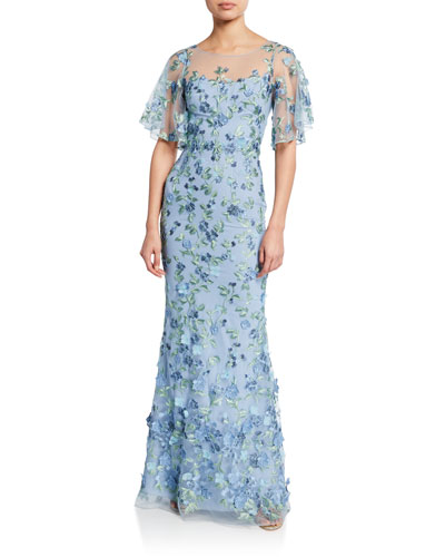 18fb6efb Quick Look. Marchesa Notte · Sweetheart Illusion Flutter-Sleeve Embroidered  Tulle Gown ...