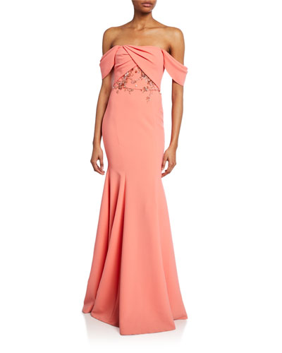 Off-the-Shoulder Crepe Gown w/ Draped-Bodice & Beaded Embroidery