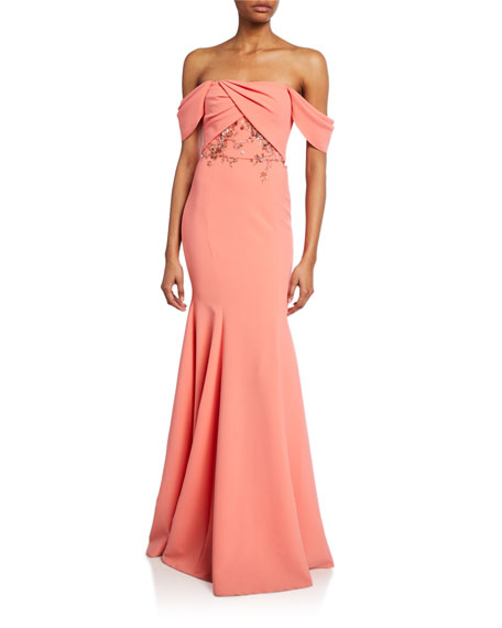 Marchesa Notte Off-the-Shoulder Crepe Gown w/ Draped-Bodice & Beaded Embroidery