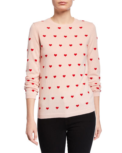 Heart Print Long-Sleeve Sweater