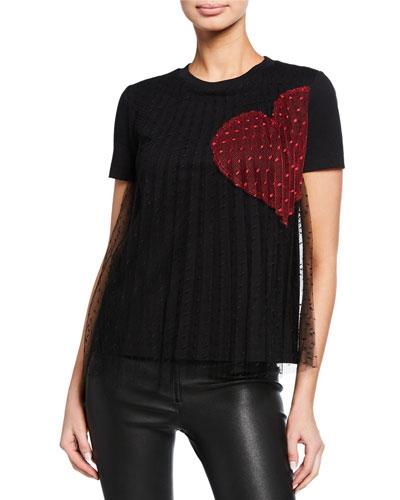 Crewneck Short-Sleeve Tee w/ Point D Esprit Heart Print Overlay