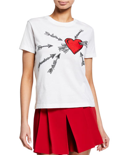 Heart & Arrows Embroidered Short-Sleeve Cotton Tee