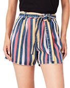 3x1 Flaunt Striped Belted Shorts