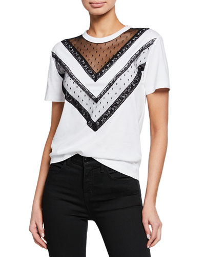 Short-Sleeve Cotton Tee with Lace Trim