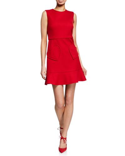 Sleeveless Ruffle-Bottom Dress with Heart Pockets