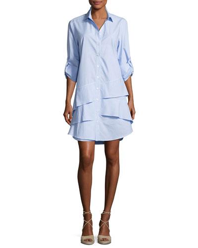 Jenna Long-Sleeve Ruffle-Tiered Striped Shirtdress, Petite