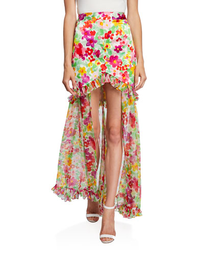 Adriene Floral High-Low Skirt