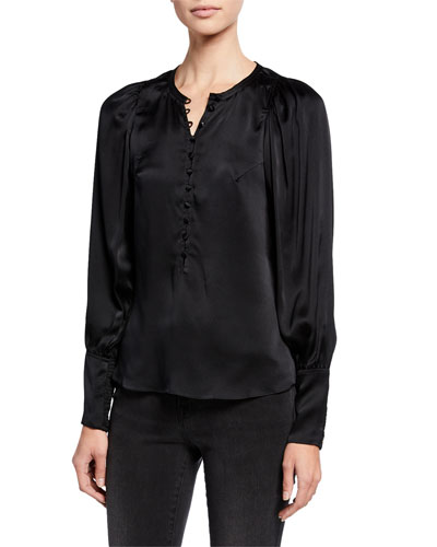Long-Sleeve Charmeuse Button-Front Top