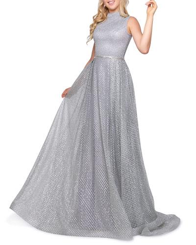 Mock-Neck Sleeveless Metallic Lattice Gown