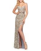 Mac Duggal Metallic-Leaf Embellished Strapless High Slit Gown