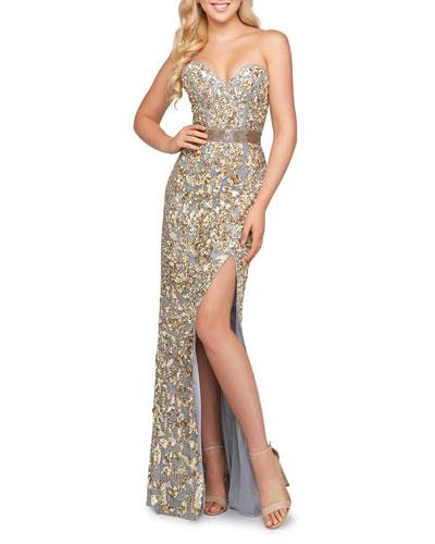 Metallic-Leaf Embellished Strapless High Slit Gown