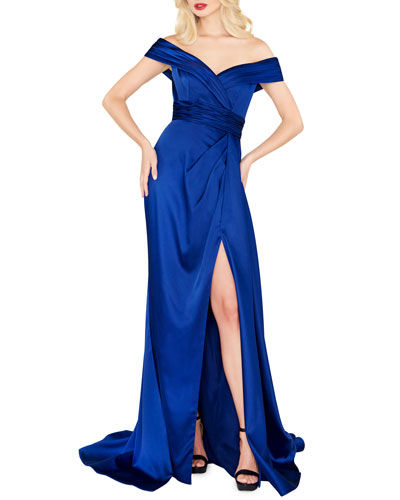 Off-the-Shoulder Draped Satin Gown