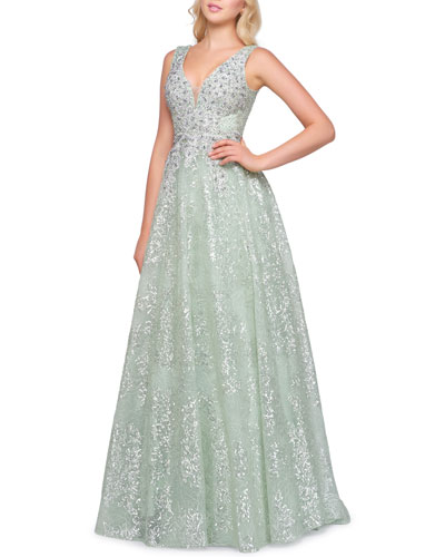 Sleeveless Beaded Plunging V-Neck Gown