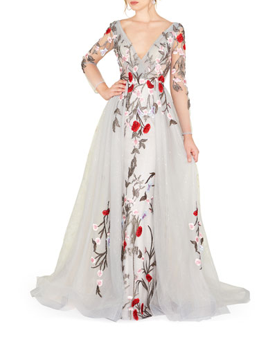 d7cae3e6f08 Quick Look. Mac Duggal · Floral Embroidered Long-Sleeve Plunging Neck Gown