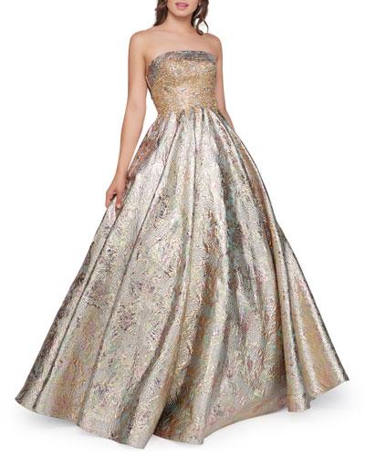 Strapless Metallic Brocade Ball Gown
