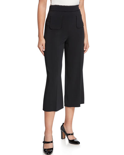 High-Rise Wide-Leg Cropped Ricrac Pants