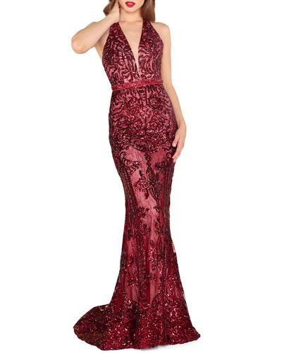 Sequin Lace Halter Gown