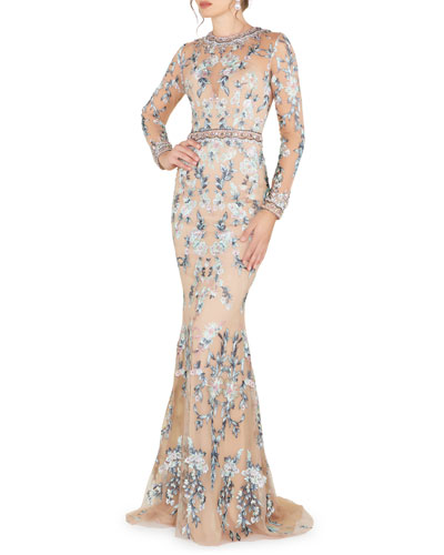 Long-Sleeve Floral Lace Jewel-Neck Gown