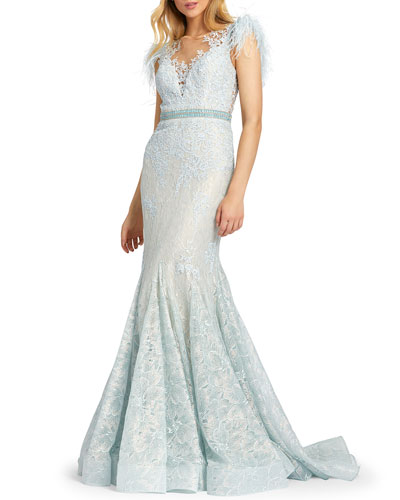 Feather Embellished Cap-Sleeve Dress