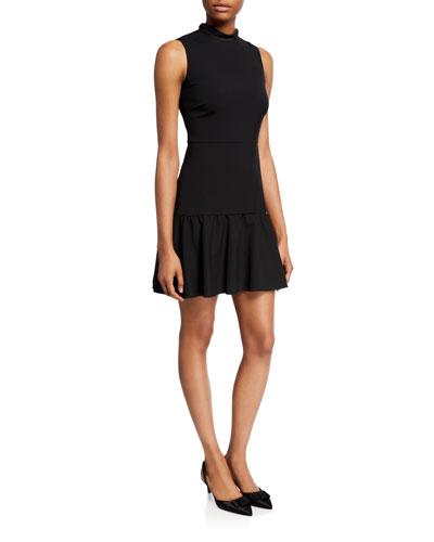 Sleeveless Mock-Neck Tie-Back Fit-&-Flare Dress