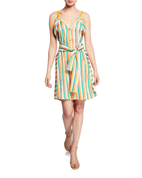 PINKO Andreina Striped Button-Front Dress