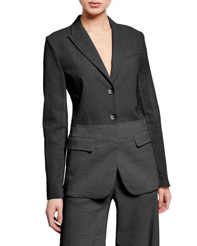 Darcia Two-Tone Linen Blazer