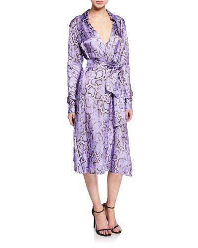 Amalia Snake-Print Wrap Dress