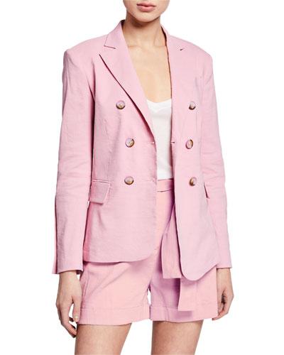 Delizia Asymmetric Linen Blazer