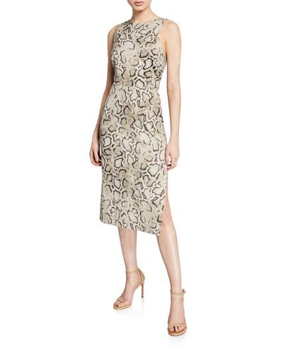 Ancilla Sleeveless Snake-Print Sheath Dress