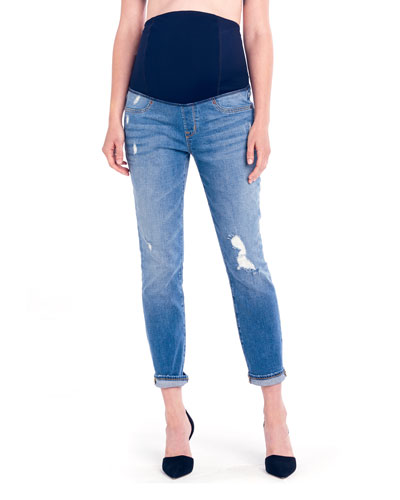 Maternity Mia Boyfriend Denim Jeans with Crossover Panel