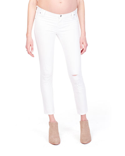 Maternity Sasha Distressed Skinny Jeans with Inset Panel
