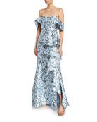 Badgley Mischka Collection Floral Off-the-Shoulder Short-Sleeve