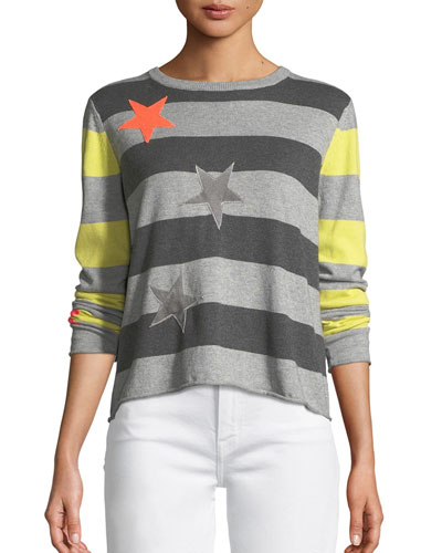 Petite Lucky Star Striped Cotton Sweater