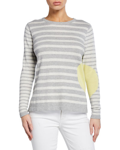 Petite Striped Dot Long-Sleeve Cotton Sweater