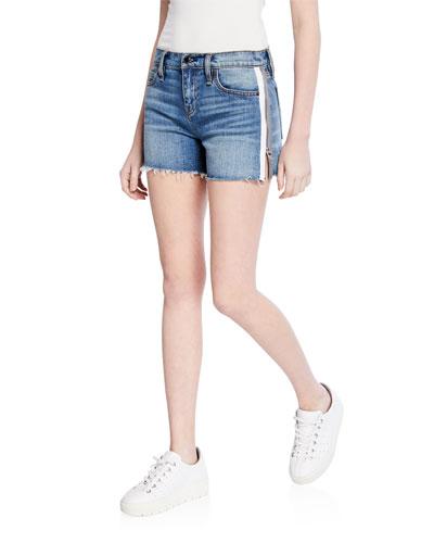 Gemma Mid-Rise Side-Zip Denim Cutoff Shorts