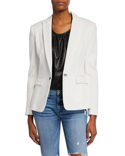 Lexington Hook-Front Pique Blazer