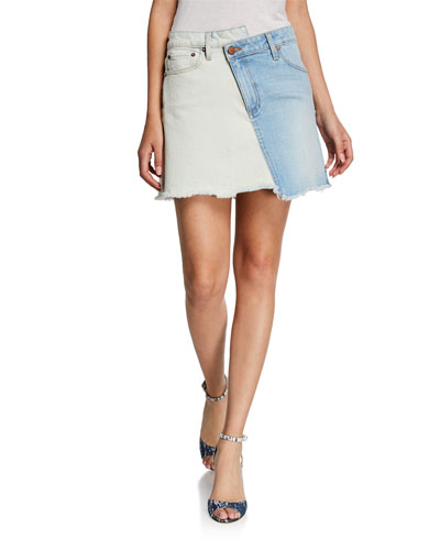 121ac3deca Quick Look. ALICE + OLIVIA JEANS · Amazing Two-Tone High-Rise Denim Skirt