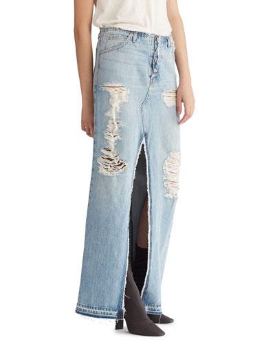 Sloane Long Denim Skirt