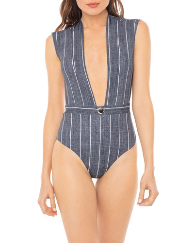 428a3a5a81 Quick Look. Revel Rey · Gene Stripe Plunging Open-Back One-Piece Swimsuit