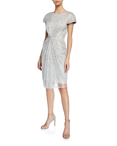 a653a19e5a Quick Look. Tadashi Shoji · Sequined-Lace Short-Sleeve Cocktail Dress